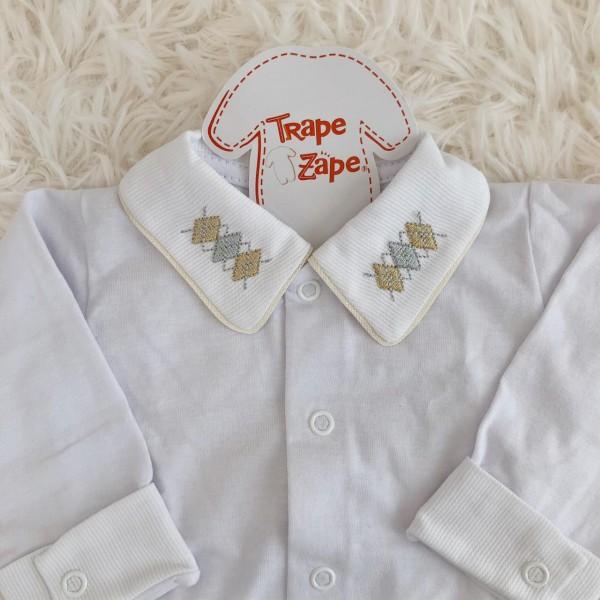 body camisa gola bordada bege losangulo