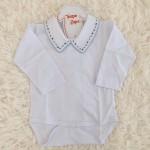 body camisa branco com bordado marinho e viez azul bebe