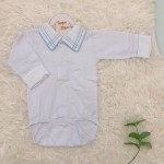 body camisa gola com bordado azul bebe