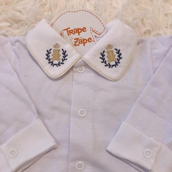 body camisa gola com bordado ursinho bege com marinho