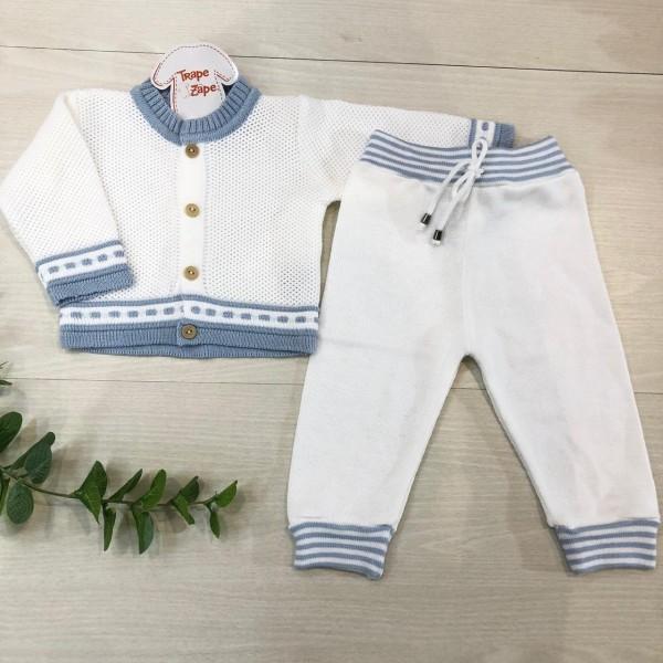 Conjunto de linha branco com azul bebe