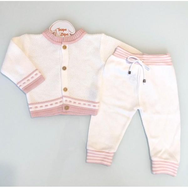 Conjunto de linha branco com listra rosa