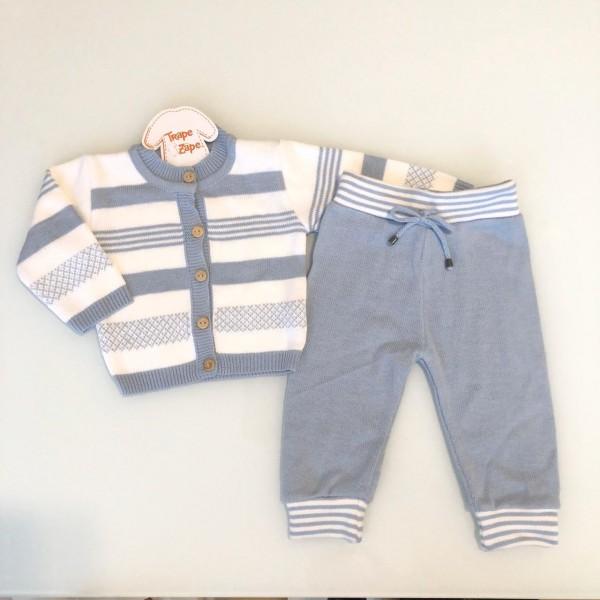 Conjunto de linha  azul bebe novo com calça azul