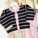 Conjunto de linha preto com rosa traçinho