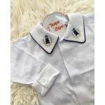 body camisa gola com bordado ursinho marinho com bege